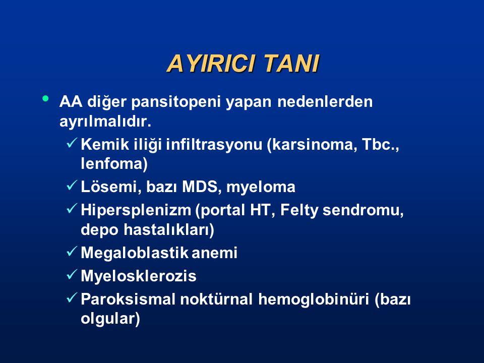 AYIRICI TANI AA diğer pansitopeni yapan nedenlerden ayrılmalıdır.