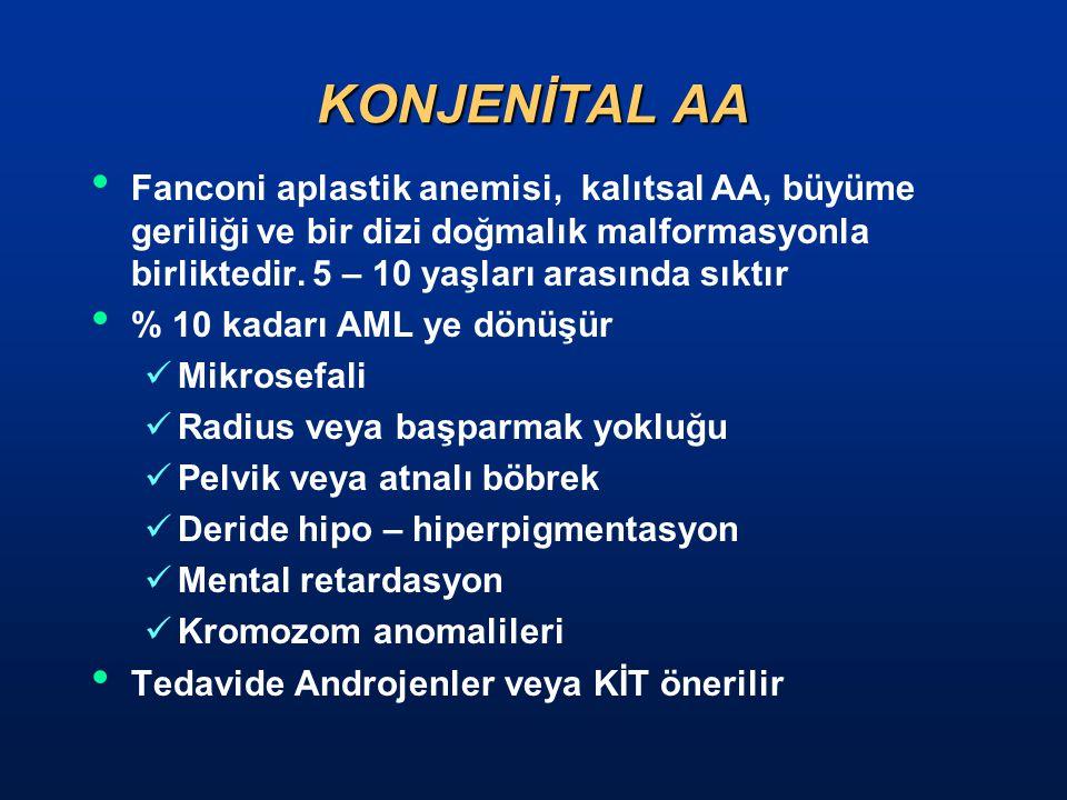 KONJENİTAL AA Fanconi aplastik anemisi, kalıtsal AA, büyüme geriliği ve bir dizi doğmalık malformasyonla birliktedir. 5 – 10 yaşları arasında sıktır.