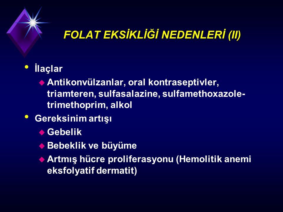FOLAT EKSİKLİĞİ NEDENLERİ (II)