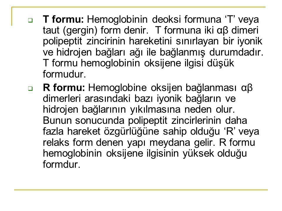 T formu: Hemoglobinin deoksi formuna 'T' veya taut (gergin) form denir