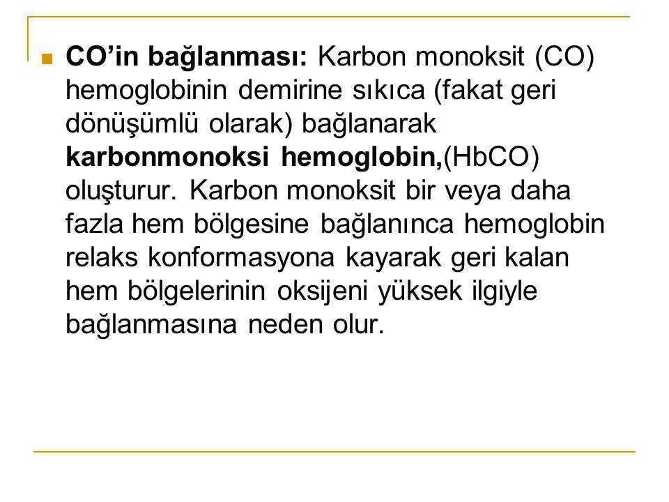 CO'in bağlanması: Karbon monoksit (CO) hemoglobinin demirine sıkıca (fakat geri dönüşümlü olarak) bağlanarak karbonmonoksi hemoglobin,(HbCO) oluşturur.