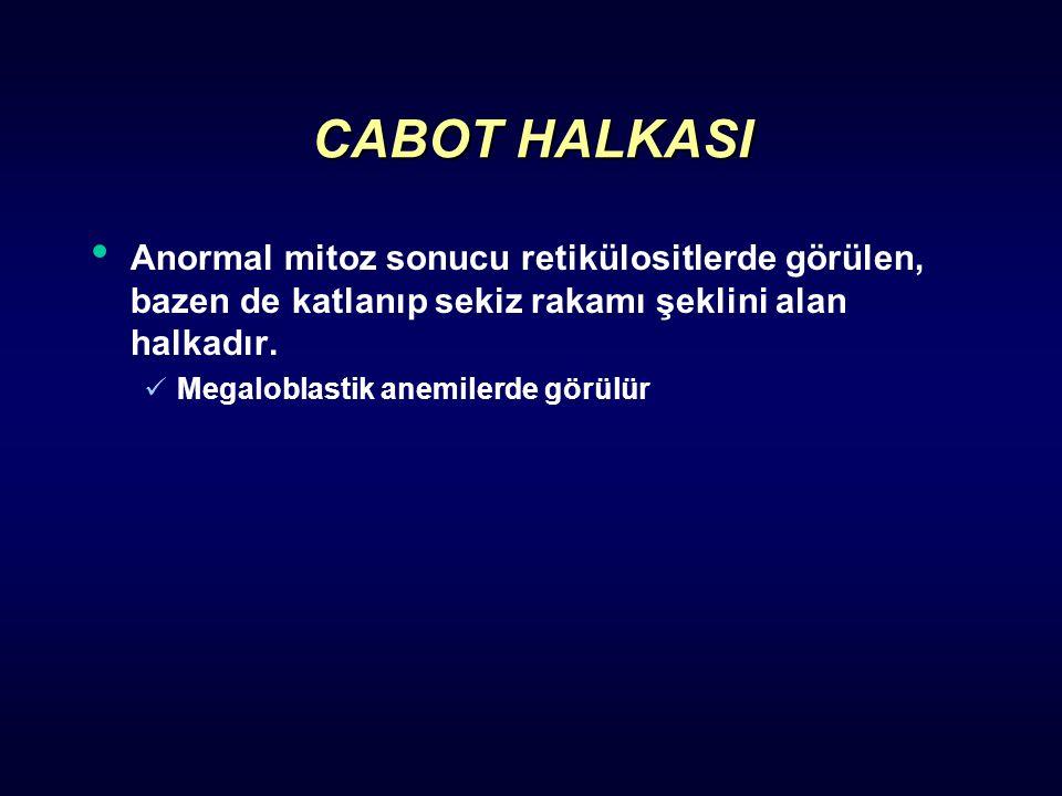 CABOT HALKASI Anormal mitoz sonucu retikülositlerde görülen, bazen de katlanıp sekiz rakamı şeklini alan halkadır.