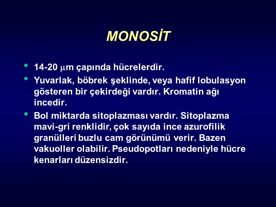 MONOSİT 14-20 m çapında hücrelerdir.