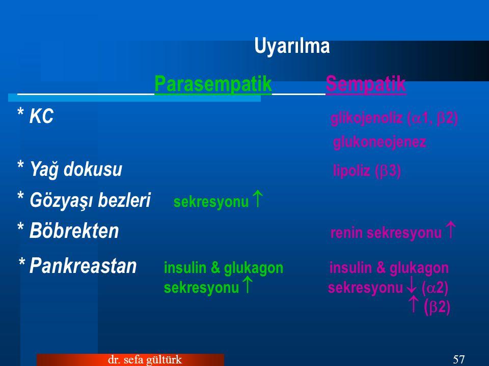 Uyarılma Parasempatik Sempatik * KC glikojenoliz (1, 2)