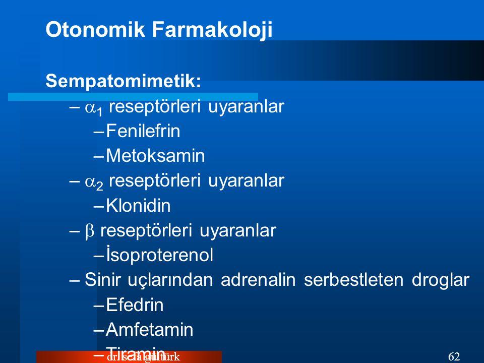 Otonomik Farmakoloji Sempatomimetik: 1 reseptörleri uyaranlar