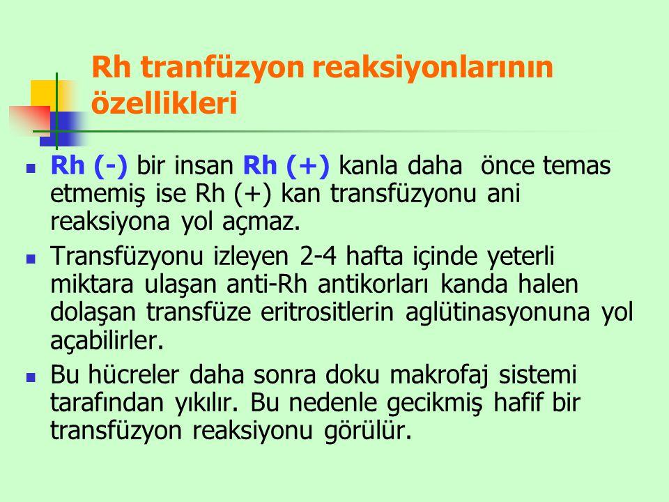 Rh tranfüzyon reaksiyonlarının özellikleri
