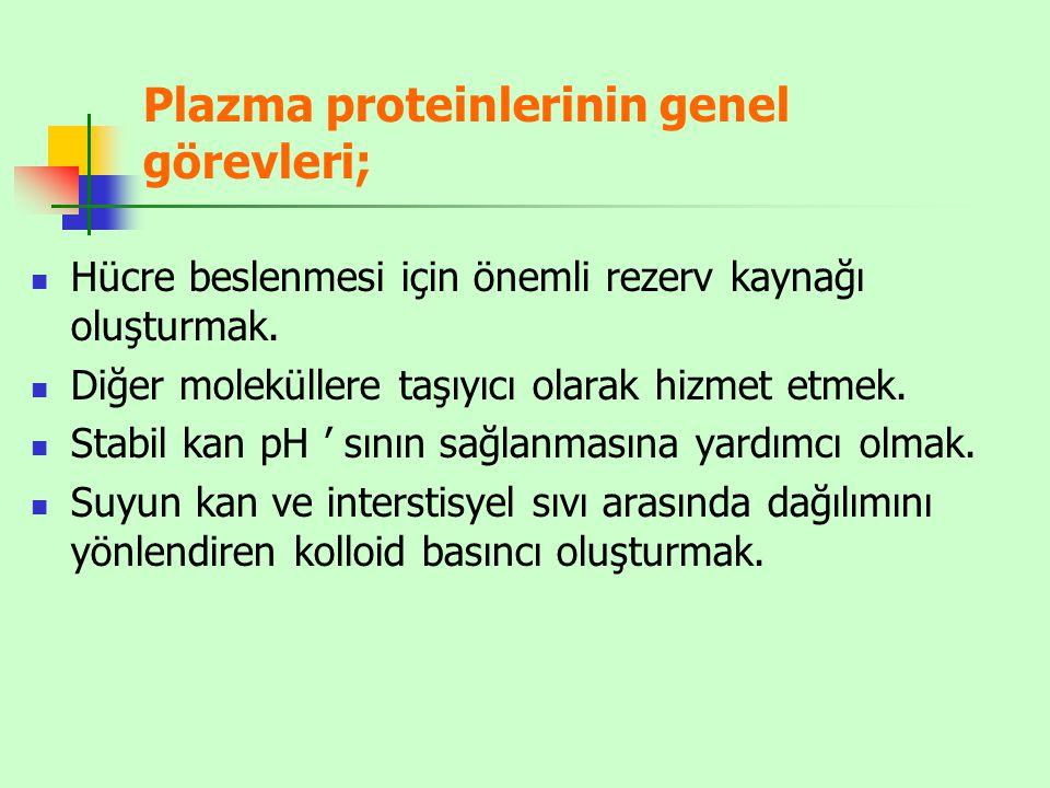 Plazma proteinlerinin genel görevleri;