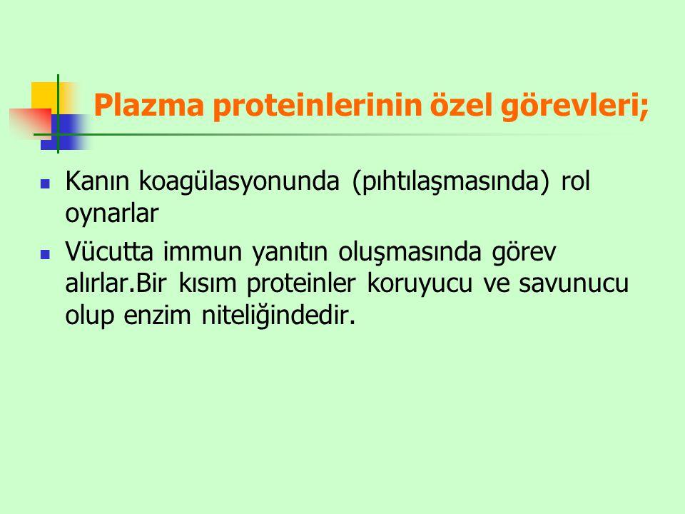Plazma proteinlerinin özel görevleri;