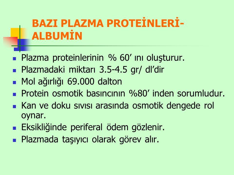 BAZI PLAZMA PROTEİNLERİ-ALBUMİN