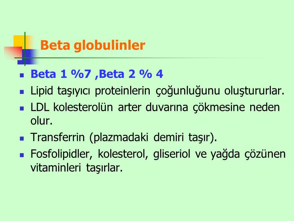 Beta globulinler Beta 1 %7 ,Beta 2 % 4