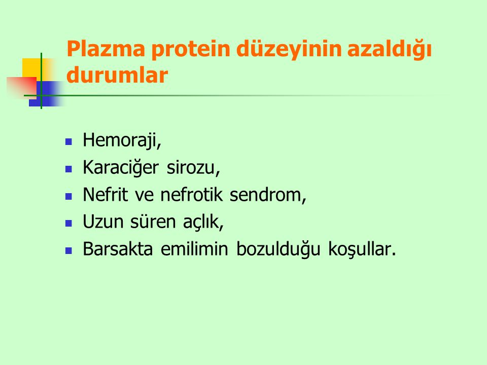 Plazma protein düzeyinin azaldığı durumlar