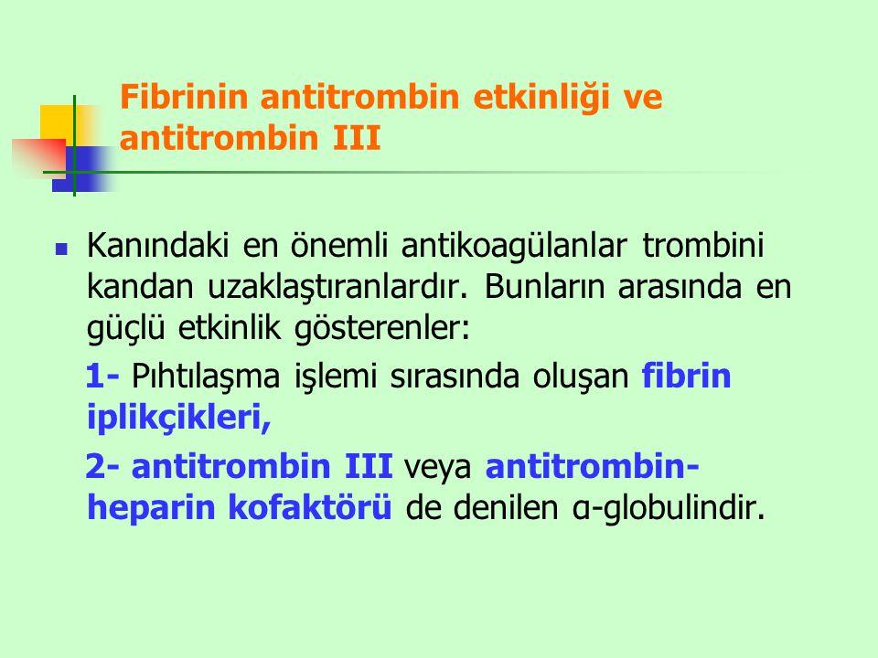 Fibrinin antitrombin etkinliği ve antitrombin III