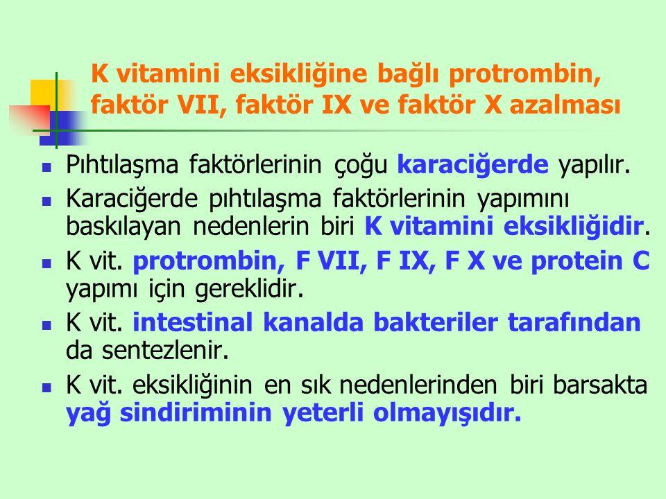 K vitamini eksikliğine bağlı protrombin, faktör VII, faktör IX ve faktör X azalması