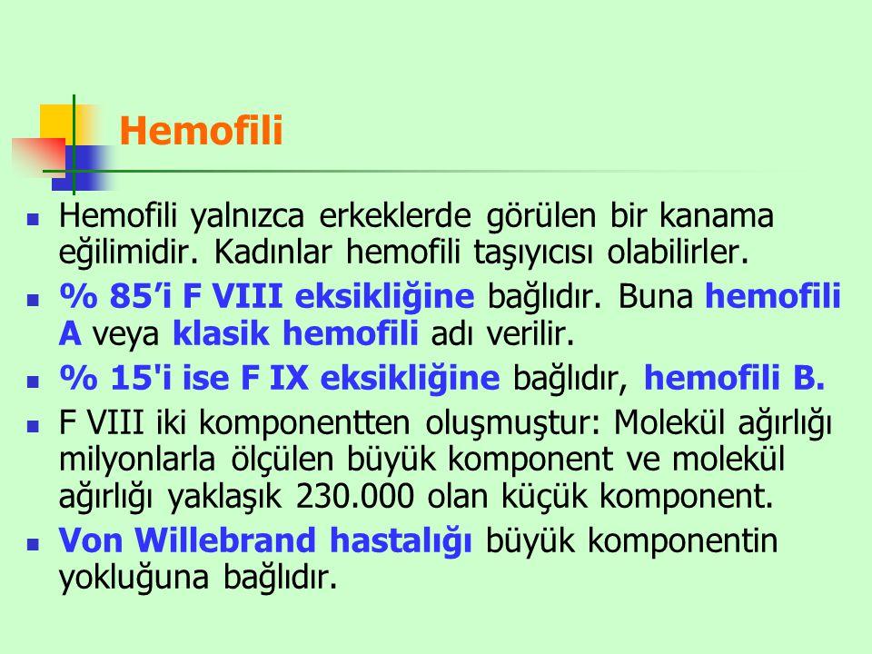 Hemofili Hemofili yalnızca erkeklerde görülen bir kanama eğilimidir. Kadınlar hemofili taşıyıcısı olabilirler.