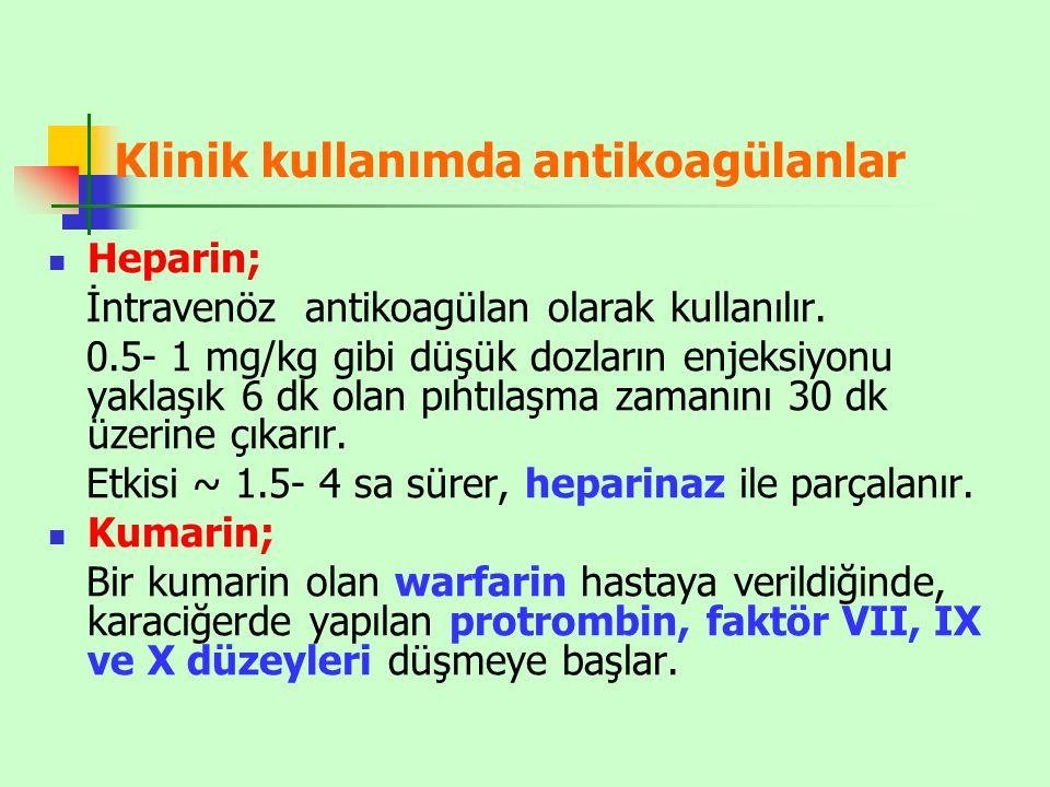 Klinik kullanımda antikoagülanlar