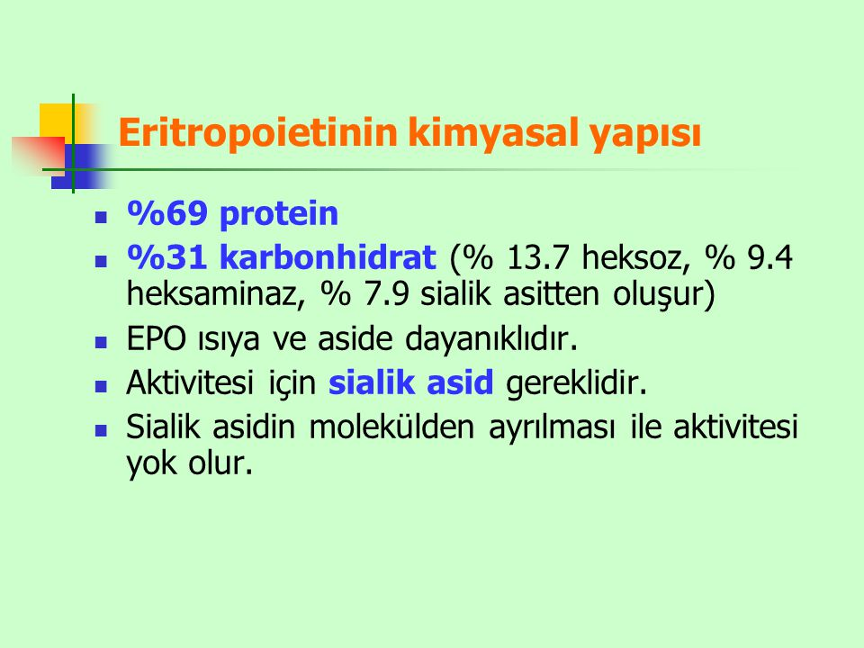 Eritropoietinin kimyasal yapısı
