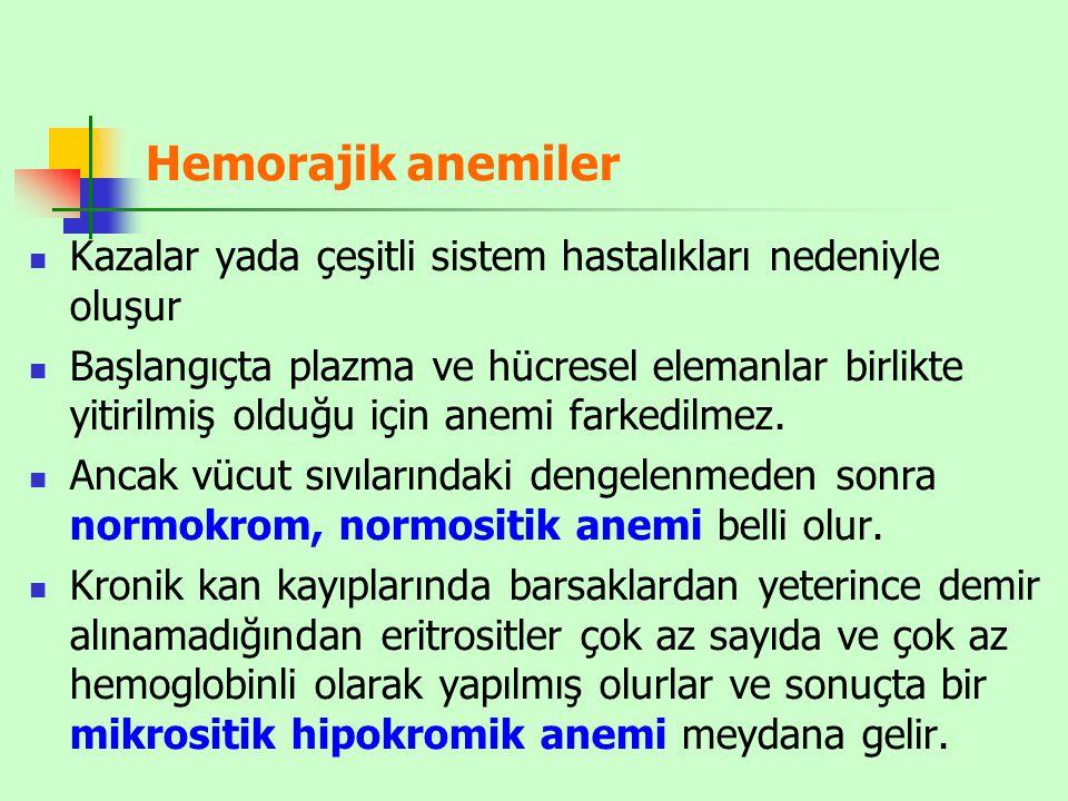 Hemorajik anemiler Kazalar yada çeşitli sistem hastalıkları nedeniyle oluşur.
