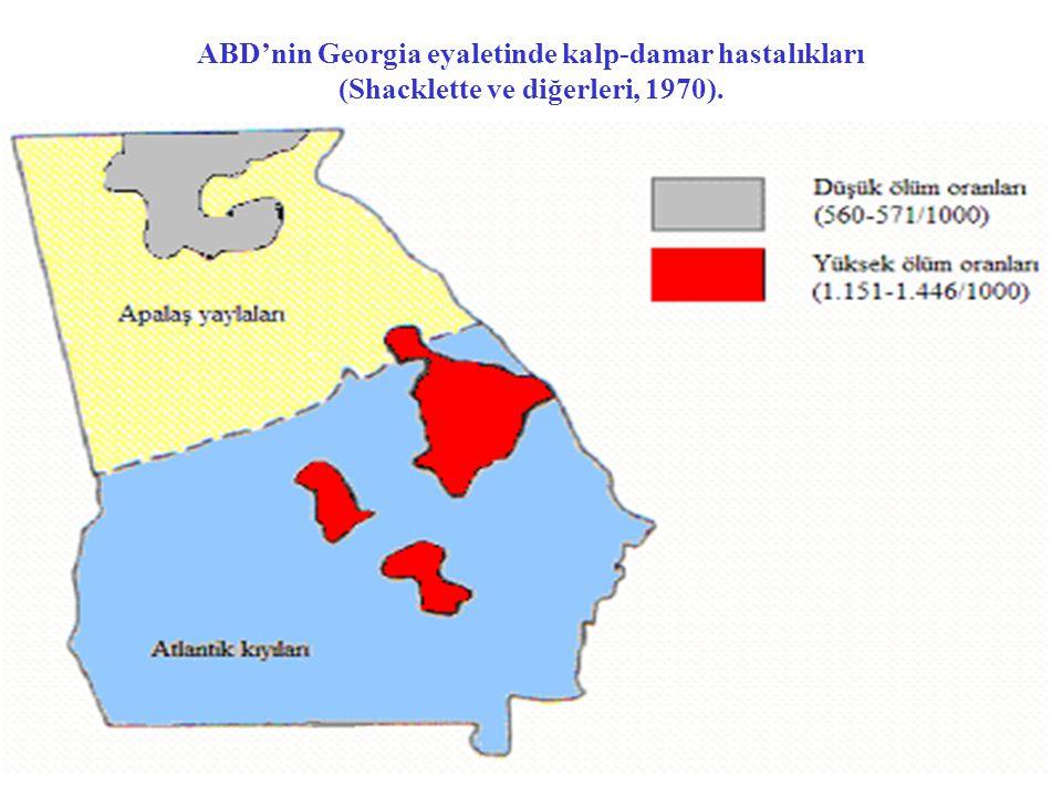 ABD'nin Georgia eyaletinde kalp-damar hastalıkları (Shacklette ve diğerleri, 1970).
