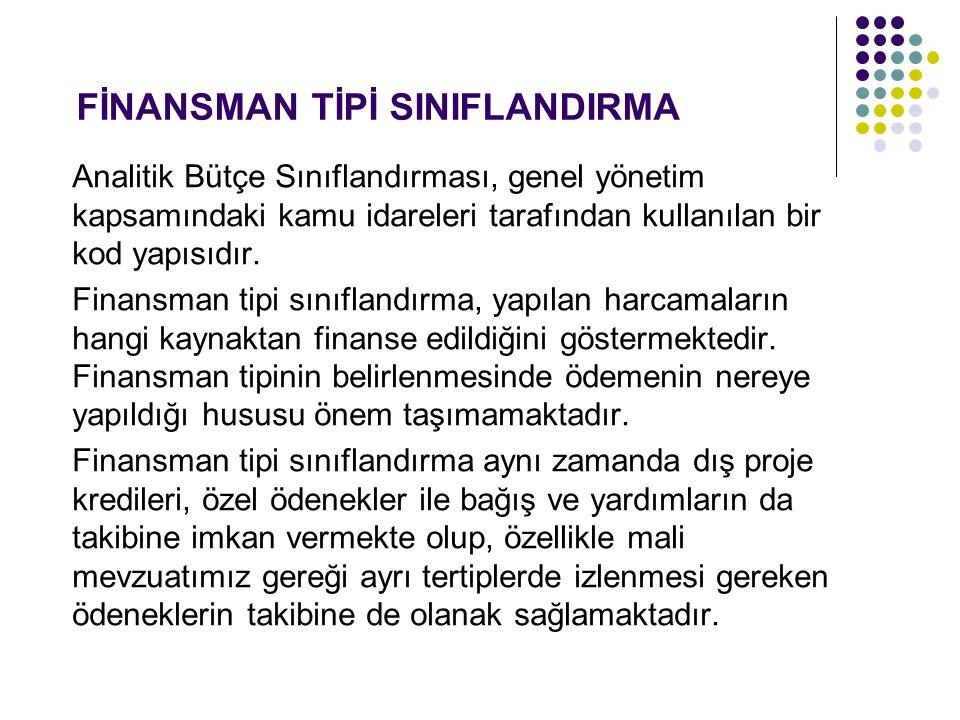 FİNANSMAN TİPİ SINIFLANDIRMA