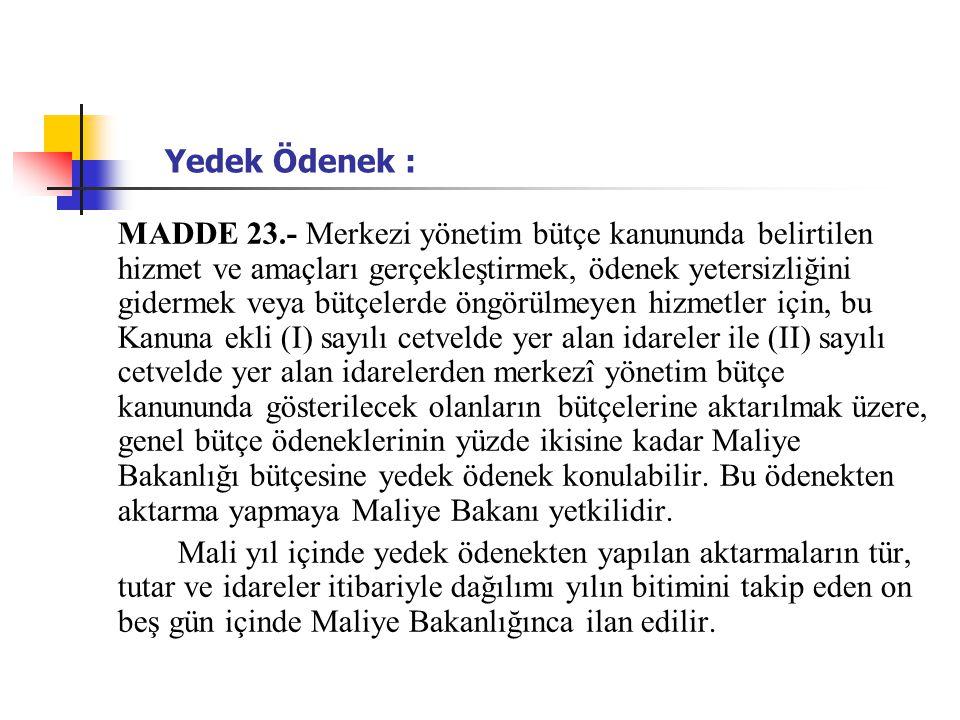 Yedek Ödenek :