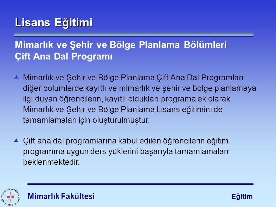 Lisans Eğitimi Mimarlık ve Şehir ve Bölge Planlama Bölümleri Çift Ana Dal Programı.