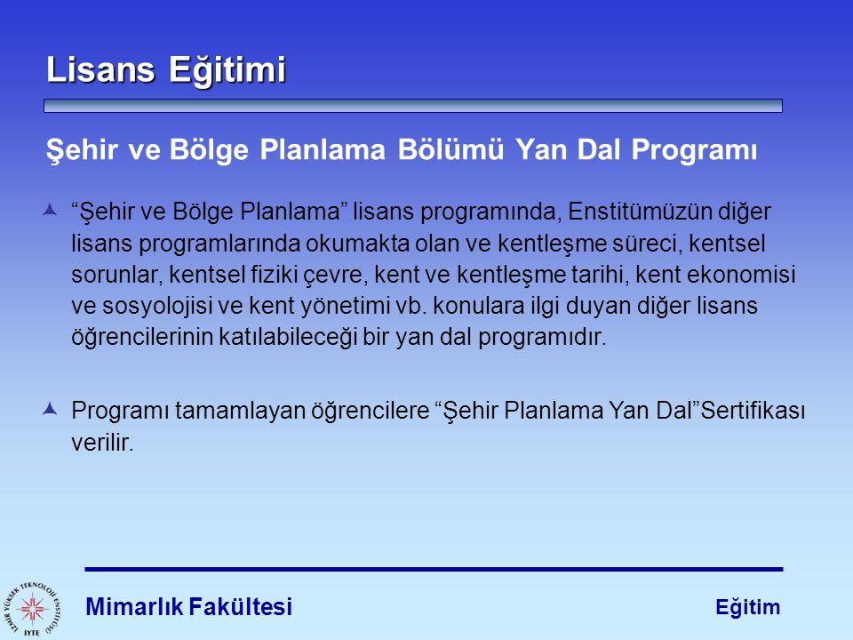 Lisans Eğitimi Şehir ve Bölge Planlama Bölümü Yan Dal Programı