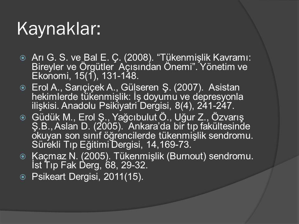Kaynaklar: Arı G. S. ve Bal E. Ç. (2008). Tükenmişlik Kavramı: Bireyler ve Örgütler Açısından Önemi . Yönetim ve Ekonomi, 15(1), 131-148.