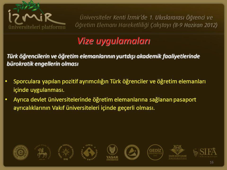 Vize uygulamaları Türk öğrencilerin ve öğretim elemanlarının yurtdışı akademik faaliyetlerinde bürokratik engellerin olması.