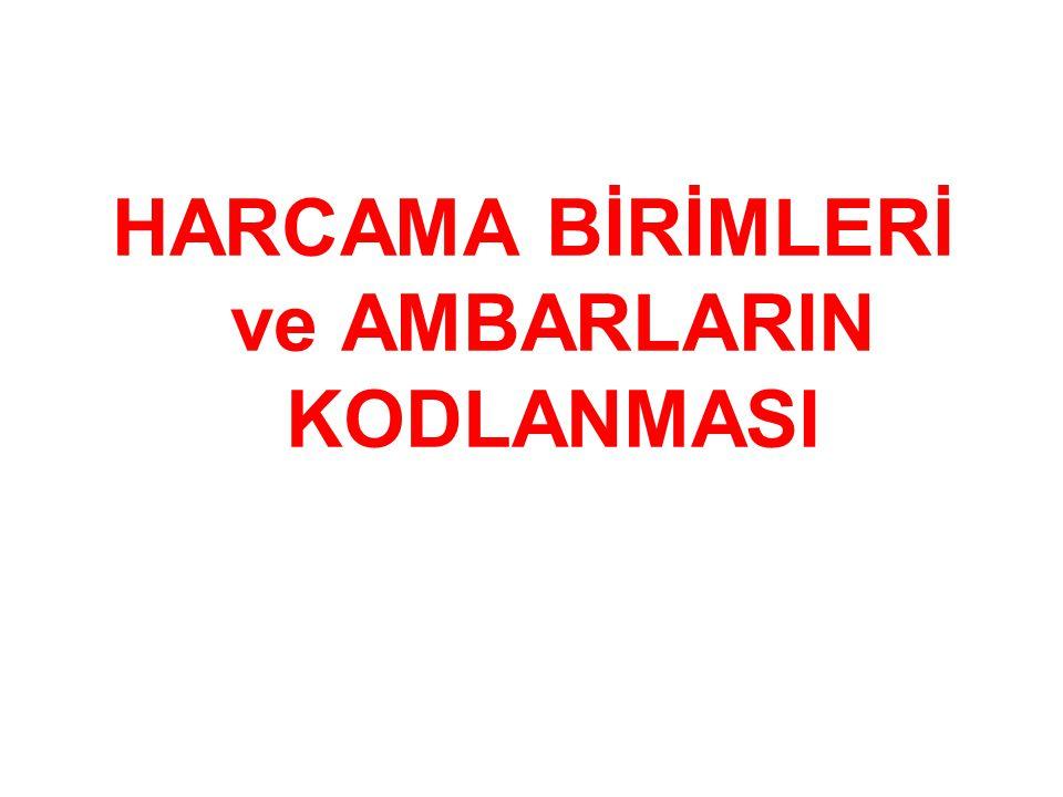 HARCAMA BİRİMLERİ ve AMBARLARIN KODLANMASI
