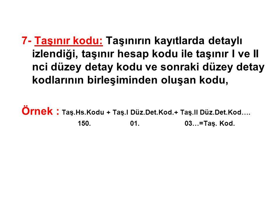 Örnek : Taş.Hs.Kodu + Taş.I Düz.Det.Kod.+ Taş.II Düz.Det.Kod….