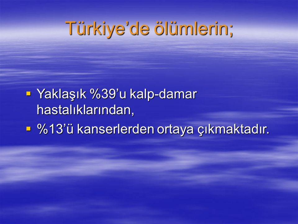 Türkiye'de ölümlerin;