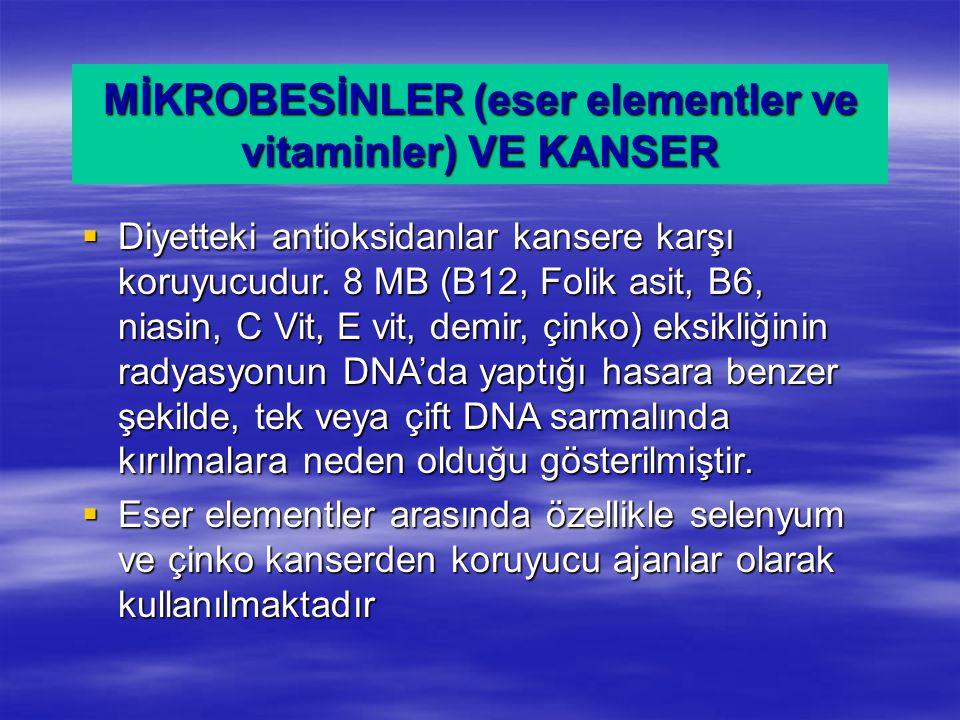 MİKROBESİNLER (eser elementler ve vitaminler) VE KANSER