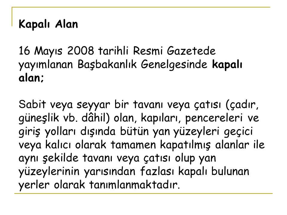 Kapalı Alan 16 Mayıs 2008 tarihli Resmi Gazetede yayımlanan Başbakanlık Genelgesinde kapalı alan;