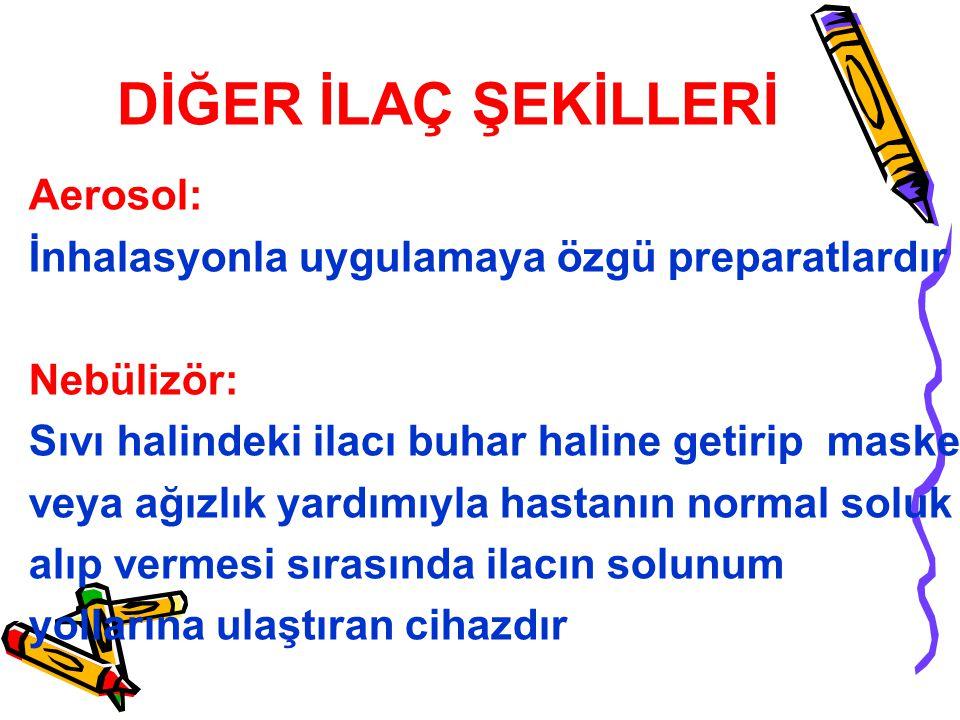 DİĞER İLAÇ ŞEKİLLERİ Aerosol:
