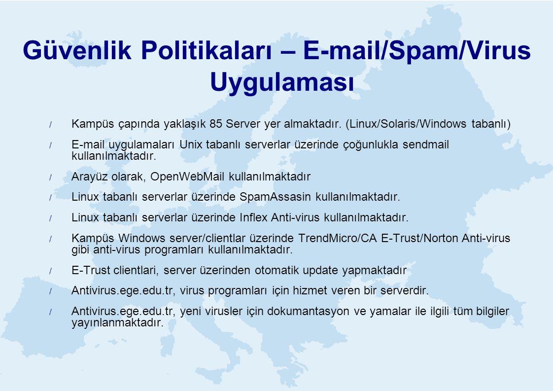 Güvenlik Politikaları – E-mail/Spam/Virus Uygulaması
