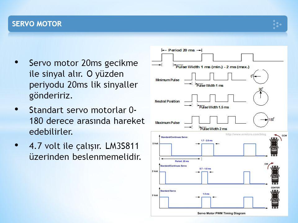 Standart servo motorlar 0- 180 derece arasında hareket edebilirler.
