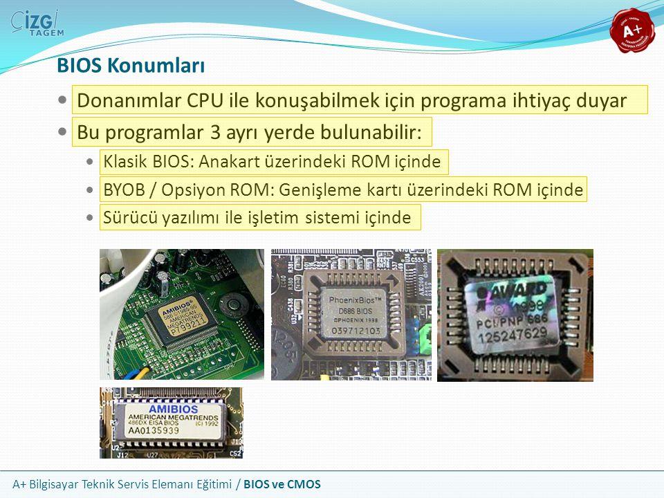 BIOS Konumları Donanımlar CPU ile konuşabilmek için programa ihtiyaç duyar. Bu programlar 3 ayrı yerde bulunabilir: