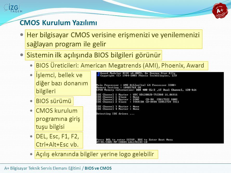 CMOS Kurulum Yazılımı Her bilgisayar CMOS verisine erişmenizi ve yenilemenizi sağlayan program ile gelir.