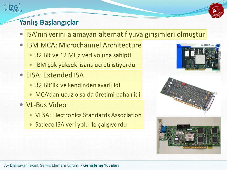 Yanlış Başlangıçlar ISA'nın yerini alamayan alternatif yuva girişimleri olmuştur. IBM MCA: Microchannel Architecture.