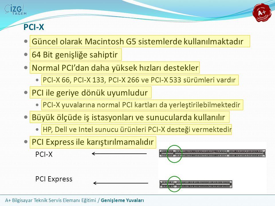 PCI-X Güncel olarak Macintosh G5 sistemlerde kullanılmaktadır