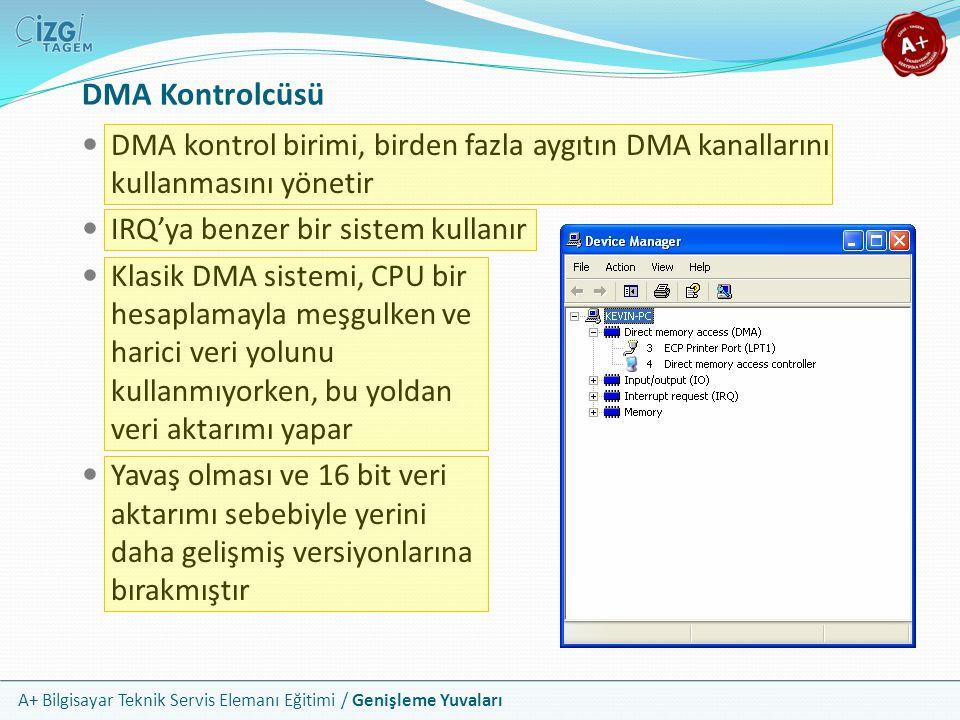 DMA Kontrolcüsü DMA kontrol birimi, birden fazla aygıtın DMA kanallarını kullanmasını yönetir. IRQ'ya benzer bir sistem kullanır.