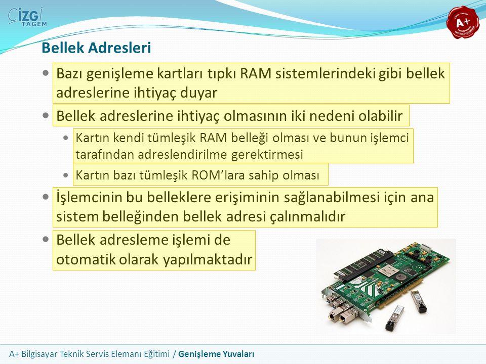 Bellek Adresleri Bazı genişleme kartları tıpkı RAM sistemlerindeki gibi bellek adreslerine ihtiyaç duyar.