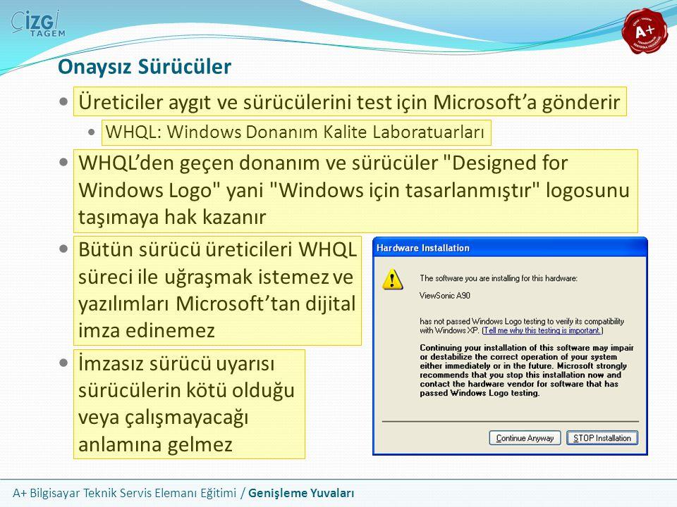 Onaysız Sürücüler Üreticiler aygıt ve sürücülerini test için Microsoft'a gönderir. WHQL: Windows Donanım Kalite Laboratuarları.
