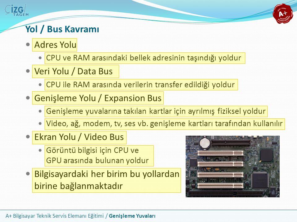 Yol / Bus Kavramı Adres Yolu Veri Yolu / Data Bus