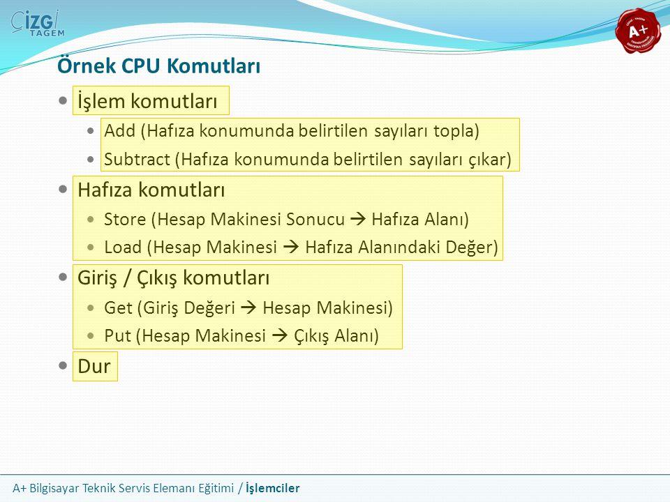 Örnek CPU Komutları İşlem komutları Hafıza komutları