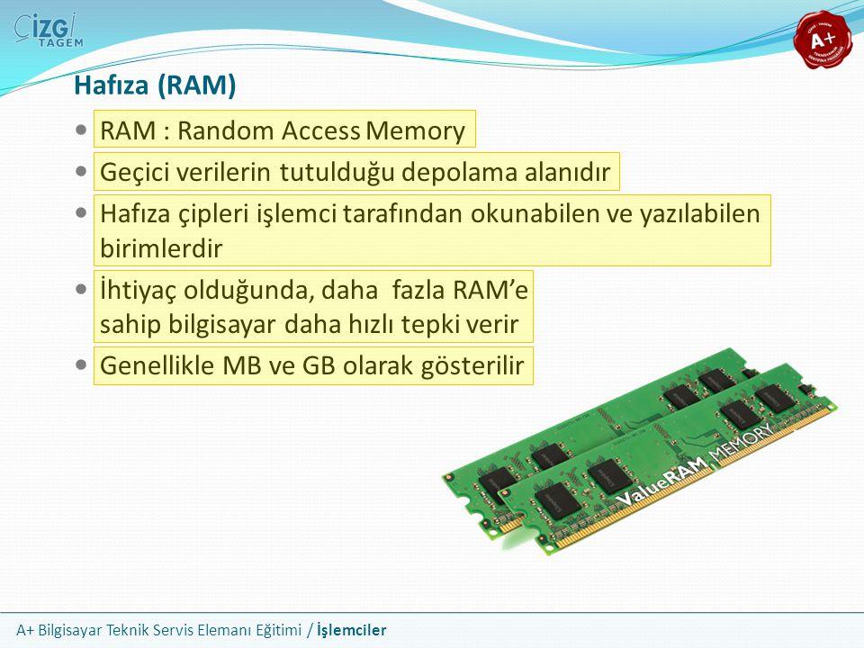 Hafıza (RAM) RAM : Random Access Memory