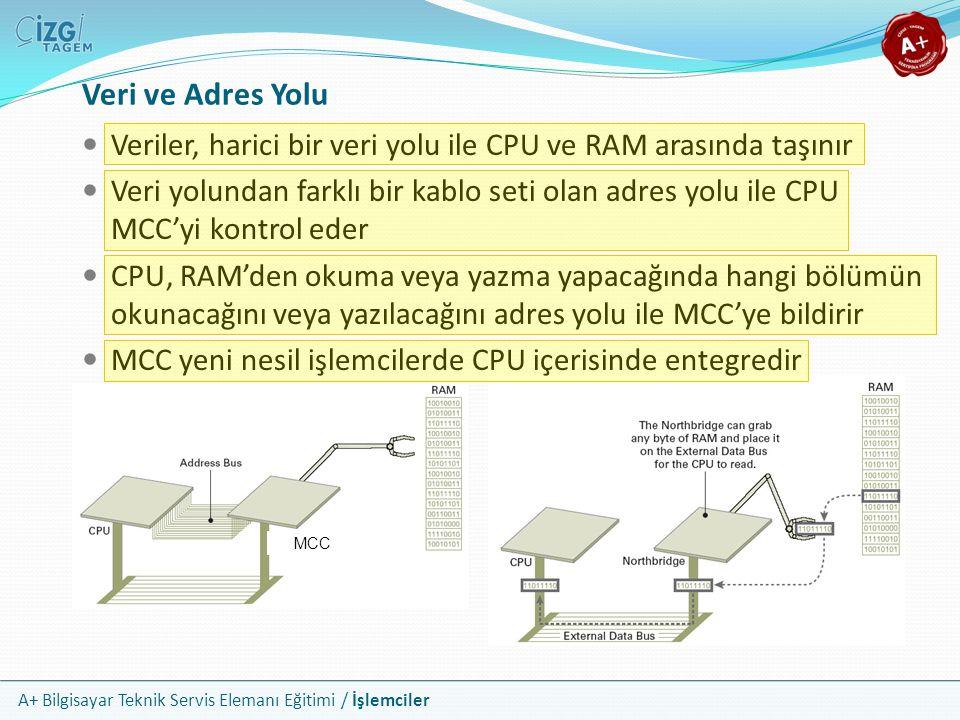 Veri ve Adres Yolu Veriler, harici bir veri yolu ile CPU ve RAM arasında taşınır.
