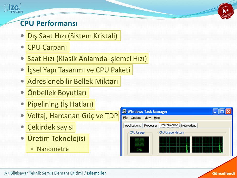 CPU Performansı Dış Saat Hızı (Sistem Kristali) CPU Çarpanı