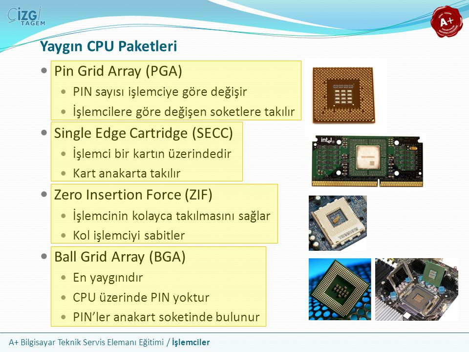 Yaygın CPU Paketleri Pin Grid Array (PGA) Single Edge Cartridge (SECC)
