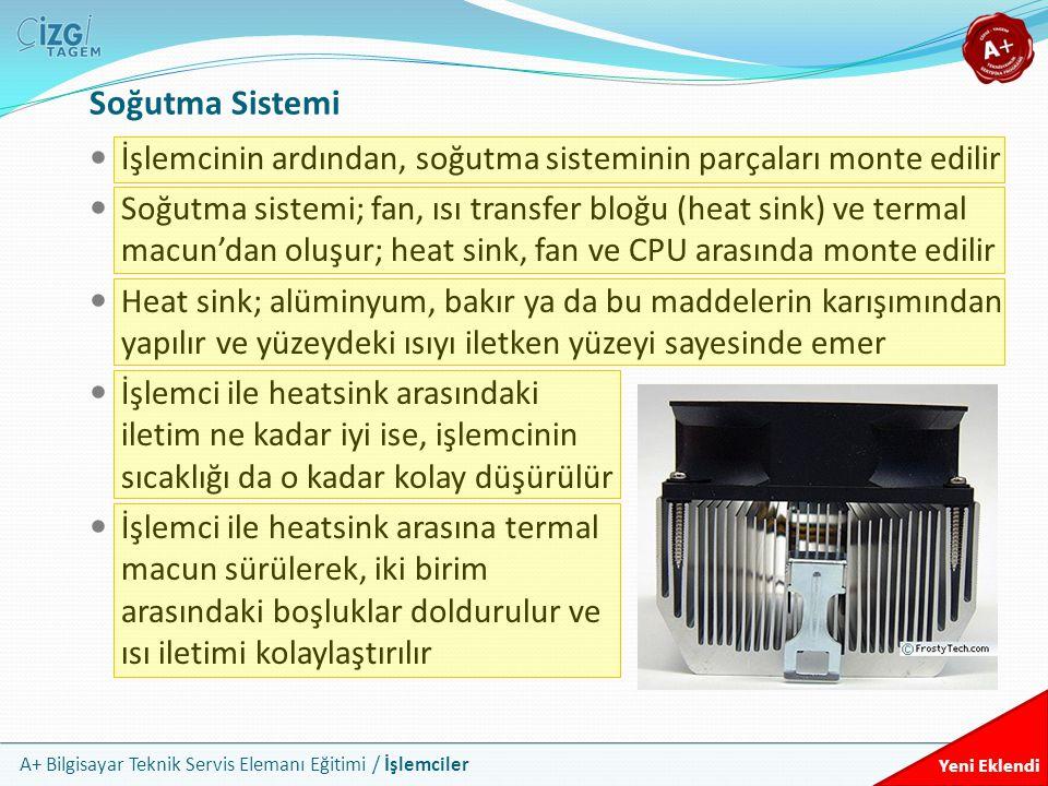 Soğutma Sistemi İşlemcinin ardından, soğutma sisteminin parçaları monte edilir.